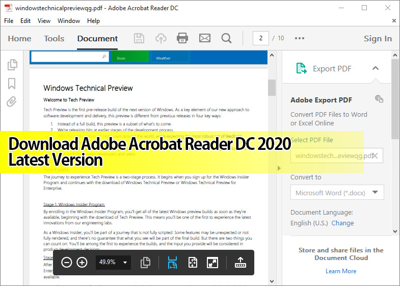 Download Adobe Acrobat Reader DC 2021 Latest Version