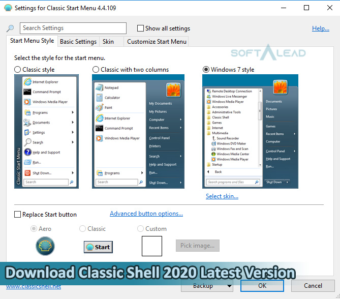 Download Classic Shell 2021 for Windows